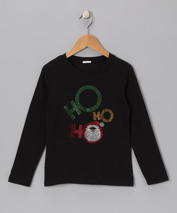 Black 'Ho Ho Ho' Santa Tee - Infant, Toddler & Girls