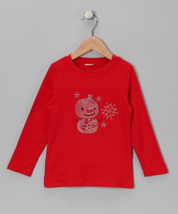 Red Snowman Tee - Infant, Toddler & Girls
