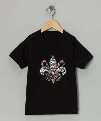 Black Holiday Fleur-de-Lis Tee - Infant, Toddler & Girls