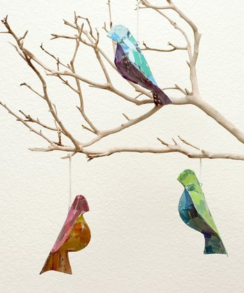 Recycled Bird Ornaments - Set of Three