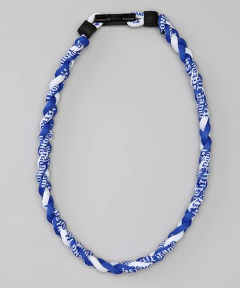 Blue & White Fanwear Titanium Sports Necklace