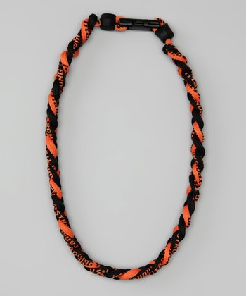 Black & Orange Fanwear Titanium Sports Necklace
