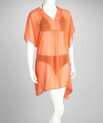 Orange Studded V-Neck Cover-Up