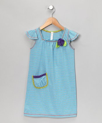 Turquoise Stripe Angel-Sleeve Dress - Toddler & Girls