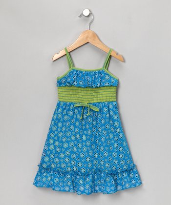 Turquoise Daisy Dress - Girls
