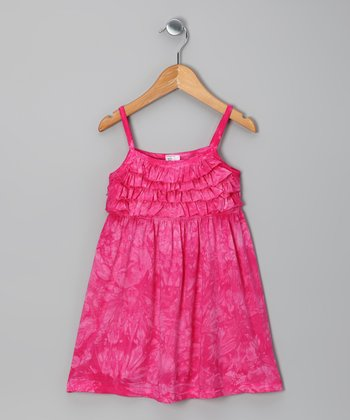 Fuchsia Tie-Dye Ruffle Dress - Girls