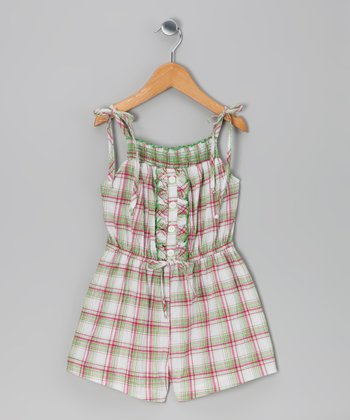 Pink Plaid Smocked Romper - Toddler & Girls