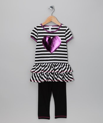 Black & White Heart Tunic & Leggings - Toddler