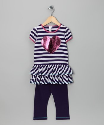 Purple & White Heart Tunic & Leggings - Toddler