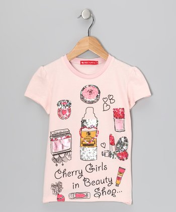 Light Pink 'Beauty Shop' Tee - Girls