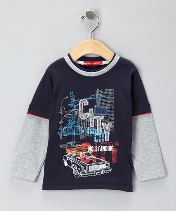 Blue & Gray 'City' Layered Tee - Infant