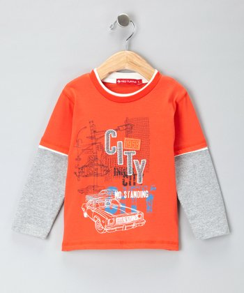 Orange & Gray 'City' Layered Tee - Infant