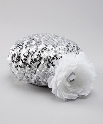 Silver Sequin Flower Hat