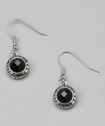 Black Faceted Pebble Earrings