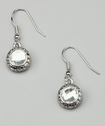 Crystal Faceted Pebble Earrings