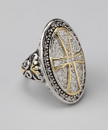 Silver, Crystal & Gold Cross Ring