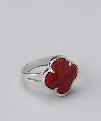 Red Coral Clover Ring
