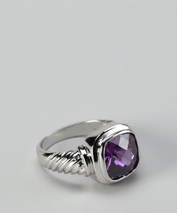 Purple Cubic Zirconia Cushion-Cut Ring