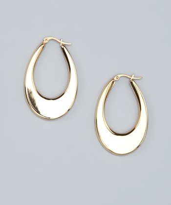 Gold Flat Oval Hoop Earrings