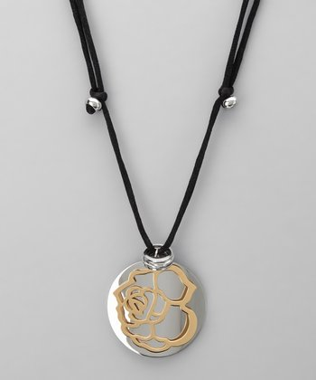 Stainless Steel & Gold Rose Pendant Necklace