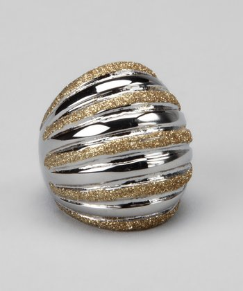Stainless Steel & Gold Sparkle Stripe Ring