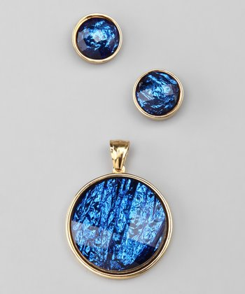 Gold & Blue Circle Pendant Necklace & Earrings