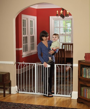 White Extra-Wide Expanding Walk-Through Safety Gate
