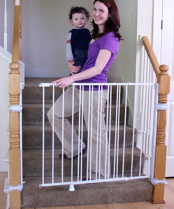 Regalo White Extra-Tall Top-of-Stairs 2-in-1 Safety Gate
