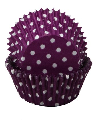Purple Polka Dot Cupcake Wrapper - Set of 60