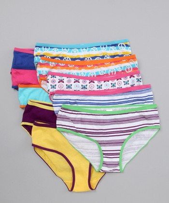 Purple Stripe Underwear Set - Girls