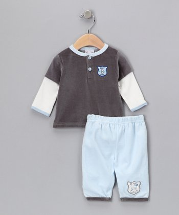René Rofé Baby Charcoal 'Baby Boy' Top & Pants