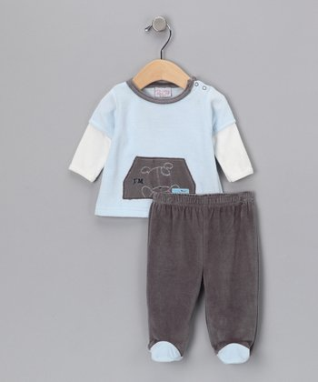 Blue 'I'm Ready to Go' Top & Footie Pants