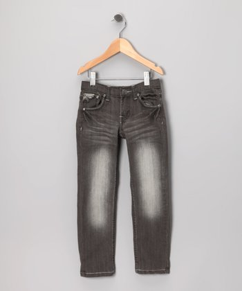 Charcoal Faded Straight-Leg Jeans - Toddler & Girls