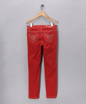 Red-Orange Skinny Jeans - Girls