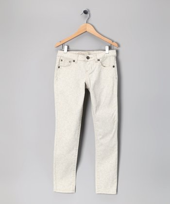White Wash Lace Skinny Jeans - Girls