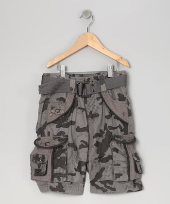 Slate Gray City Camouflage Cargo Shorts - Boys