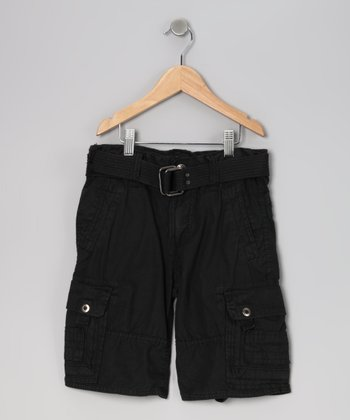 Black Wash Cargo Shorts - Boys