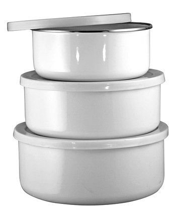 White Enameled Steel Three-Piece Bowl Set
