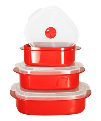Red Three-Piece Cookware & Storage Set