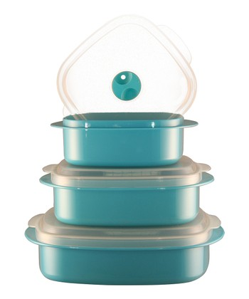 Turquoise Three-Piece Cookware & Storage Set