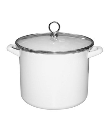 White Enamel 8-Qt. Covered Stockpot