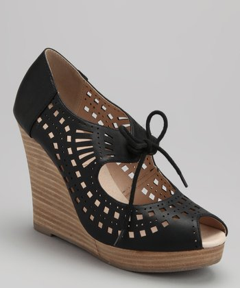 Black Mindy Peep-Toe Wedge