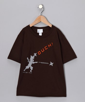 Brown 'Ouch' Tee - Boys
