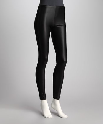 Black Faux Leather Leggings - Women