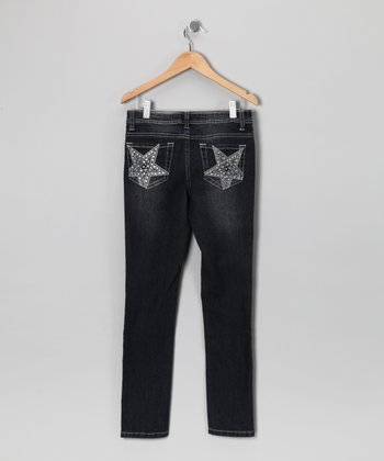 Blue Denim Superstar Pocket Skinny Jeans - Girls
