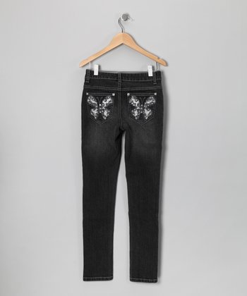 Black Denim Silver Butterfly Pocket Jeans