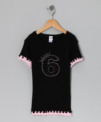 Black Crown '6' Tee - Girls