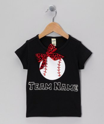 Black Baseball Team Personalized Tee - Infant, Toddler & Girls