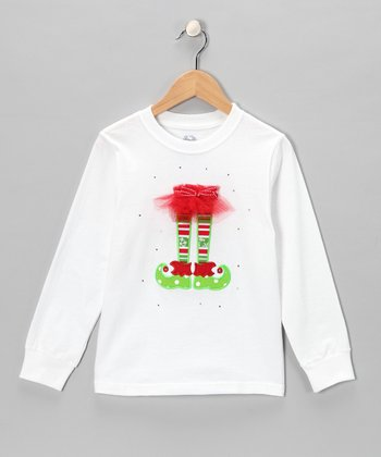 White Elf Shoe Tee - Toddler & Girls