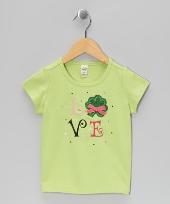 Lime Lucky Charm 'Love' Tee - Toddler & Girls